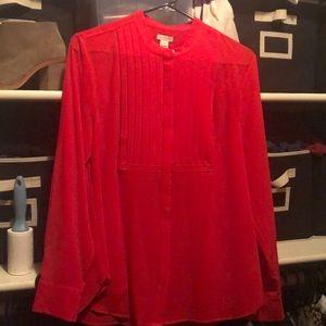 Red tuxedo blouse